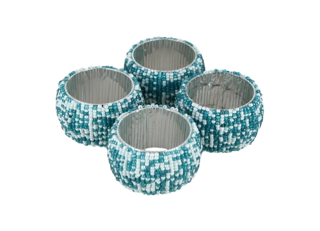 ShalinIndia Handmade Napkin Rings Set Of 4 Teal White Glass Beaded Napkin Holders - 1.5 Inch in Size - Artisan Crafted in India