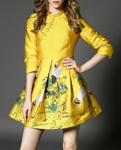 Winter Women Lady Shinny Stiff Crepe Gold Dress Party Evening Skater Dress with Folk prints