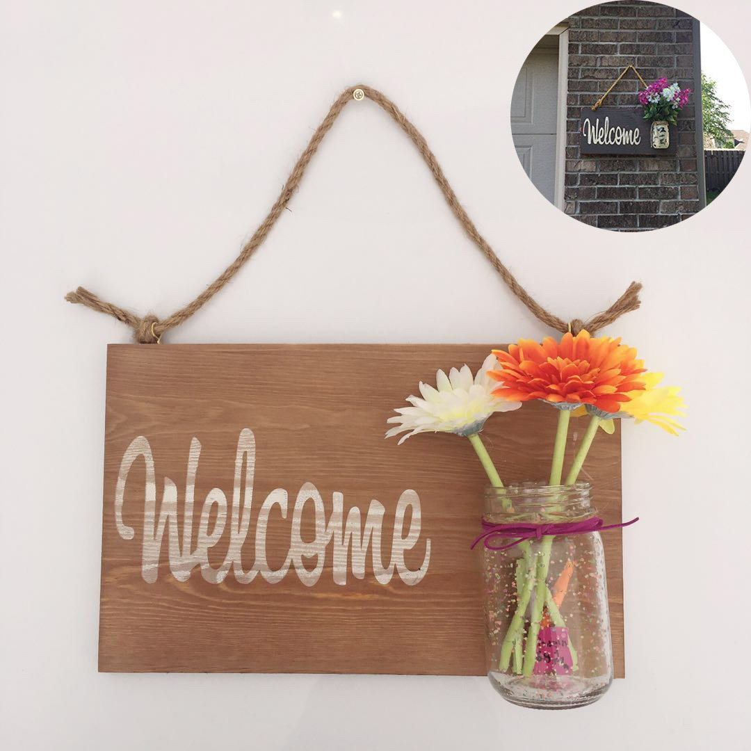 Yonor Rustic Wood Home Welcome Sign, Home Sweet Home Sign, Housewarming Gift, Hand Painted Home Decor Sign, Rustic Front Door Decorations Welcome Sign (Welcome, Wine Brown)