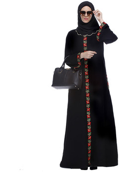 Dubai Kaftan Dress Black Abaya With Multi Coloured Thread Embroidery Muslim Dress Islamic Clothing