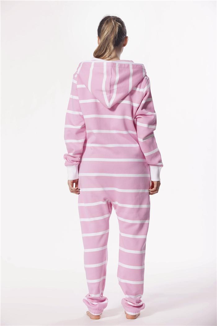 c1325f6b7b8 Women men s hooded pajama romper custom striped flannel onesie white and black  two tone jumpsuit zipper