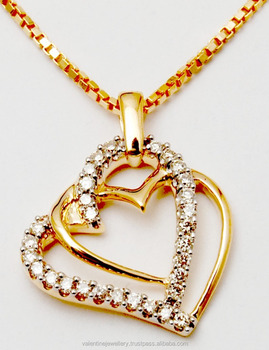Connected double heart diamond yellow gold pendant buy small gold connected double heart diamond yellow gold pendant mozeypictures Choice Image
