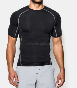 Poly/Spandex (Poly/Lycra) Black with animal head print Half Sleeve Round Neck Sublimated Compression Shirt