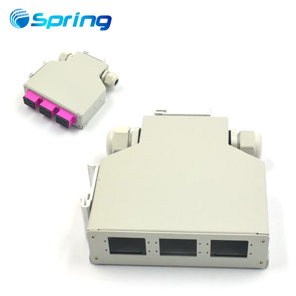 12 port Mounting Box For Fiber Optic Din Rail Patch Panel 6 SC Duplex Adapter Type