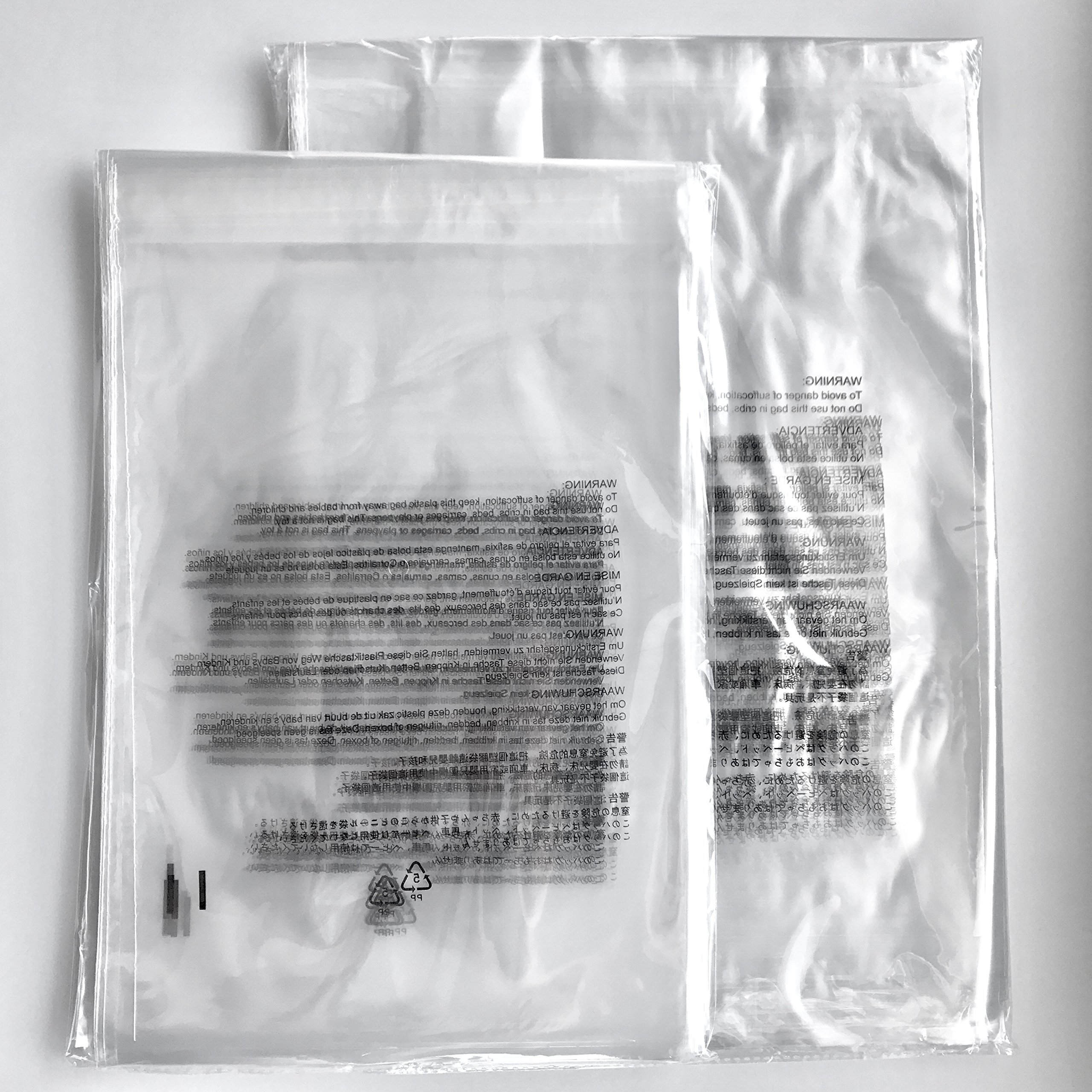 """Clear Self Seal Poly Bags, 1.5 Mil, Resealable, Suffocation Warning in 7 Languages, Suitable for International and USA FBA Seller - Combo Pack (Combo M (9""""X12"""" and 11""""X14"""") 200 Count)"""