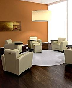 """Mayline Leather Lounge Chair W/Tablet Overall Dimensions: 31""""W X 33""""D X 30.75""""H Seat Height: 19"""" Mobile Chair Tablet: 360° Swivel (15""""W X 12""""D), Tablet Height 27"""" - Almond"""