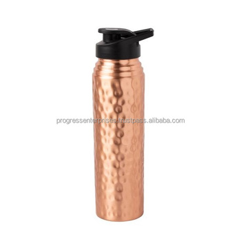 sporty copper water bottle with sipper
