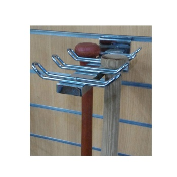 Metal fixture baseball bat holder for slatwall
