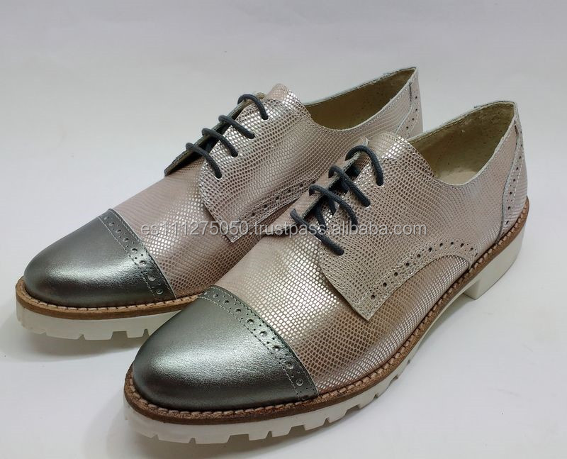 Brogues Oxfords Shoes Flat Handmade Genuine Women Leather FxtIwFqpR
