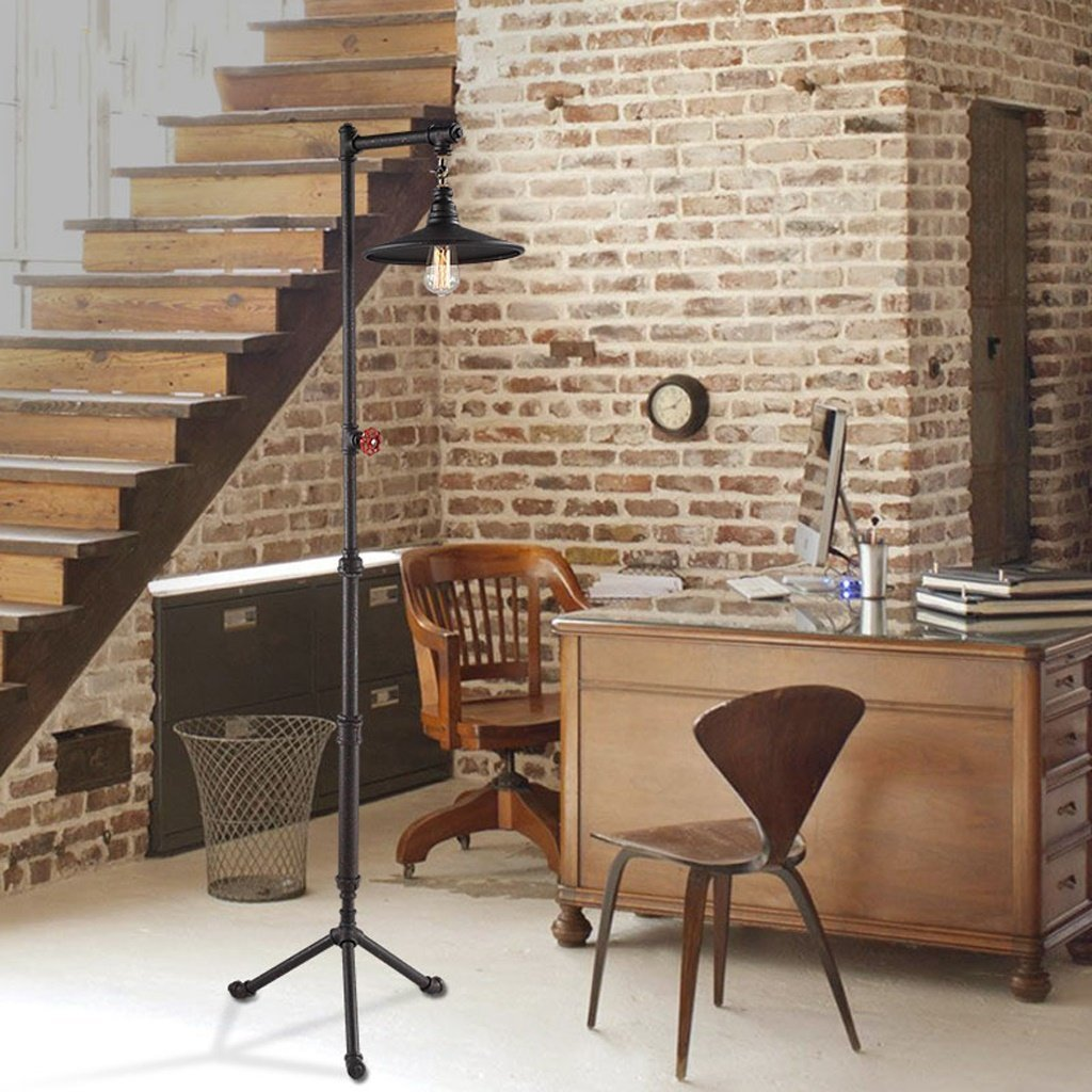 Edge To Floor lamp American Floor Lamp, Retro Floor Lamp, Industrial Iron Floor Lamp, Nordic Living Room Study Vertical Lighting, Creative Water Pipe Floor Lamp