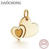 Fashion design 14k gold plated 925 sterling silver double heart pendants for necklace