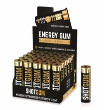 Caffeinated energy chewing gum with 100mg caffeine per piece