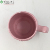 Dark pink flower pattern ceramic coffee cups with handle mugs