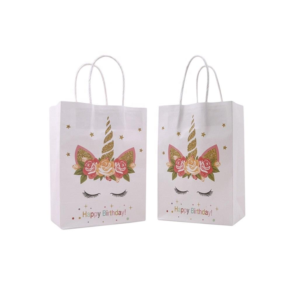 China Supplier Custom Kids Birthday Party Packaging Craft Kraft Unicorn Shopping Paper Gift Bag