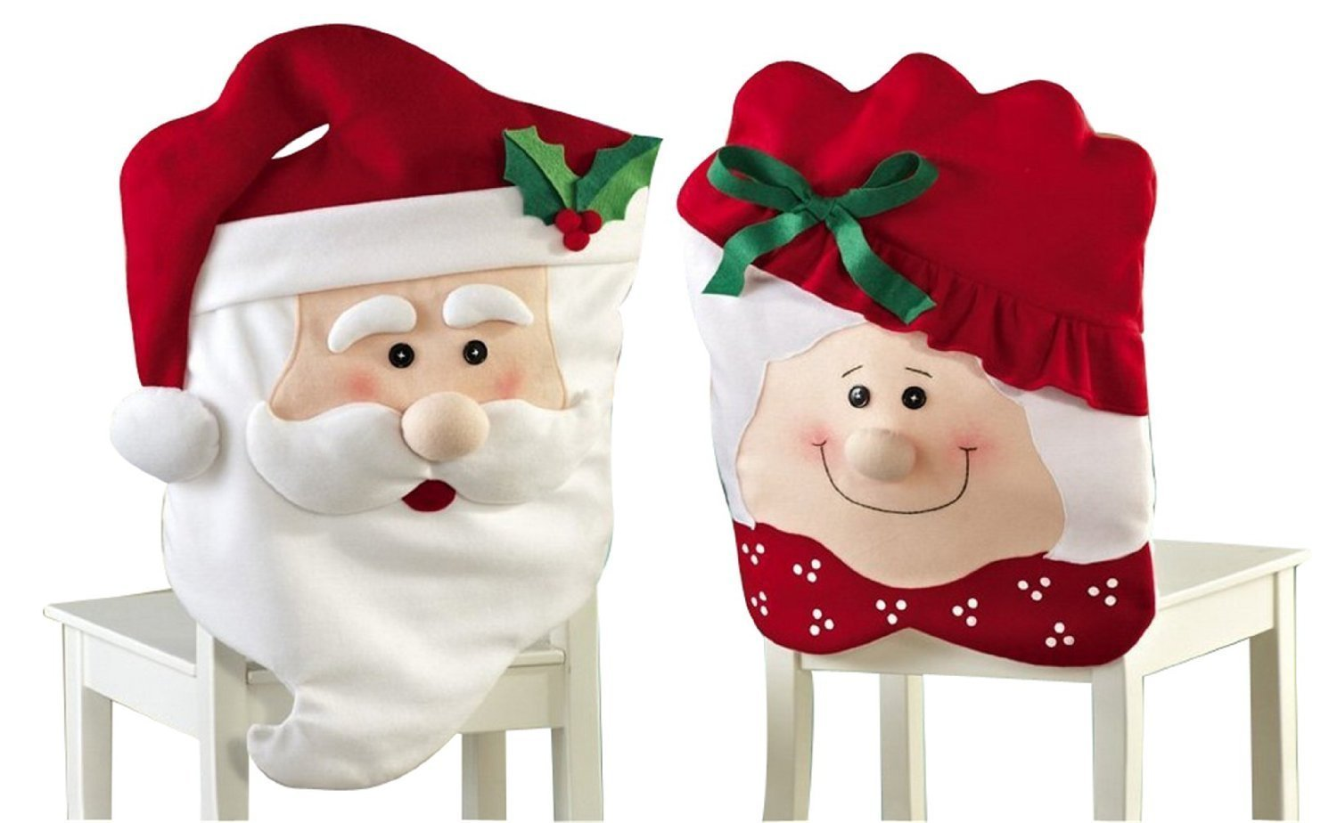 DLLL 2PCS Mr & Mrs Santa Claus Red Hat Christmas Decoration Thick Kitchen Chair Covers for Holiday Party Festive Halloween Kitchen Dining Room