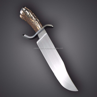 High Carbon Steel Survival Bowie Knife Stag Horn Handle(ZR79)