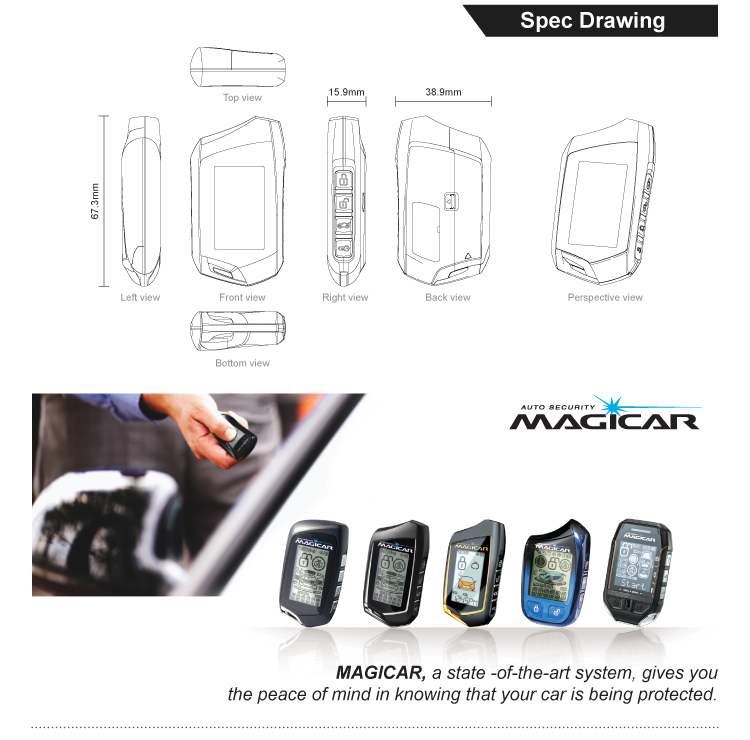 Magicar Car Alarm Security System Two Way Lcd Remote