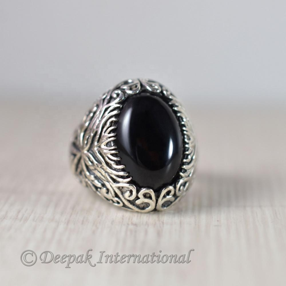 Vendita calda natural black onyx dell'argento sterlina 925 del progettista regalo per lui heavy anello