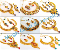 Ginni South Indian Necklace Traditional Gold Plated Jewelry- One gram Gold Laxmi Temple Jewelry