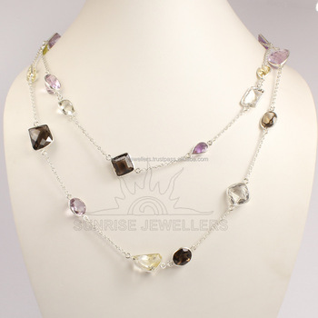 "Citrine, Amethyst, Amber Onyx and other Natural MULTI STONES Gemstone BEZAL Opera Necklace 30"", 36"""