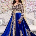 new arrival 2019 Blue satin shinny moroccan caftan moroco kaftan with golden hand embroidery stones pearls beads zari silk threa