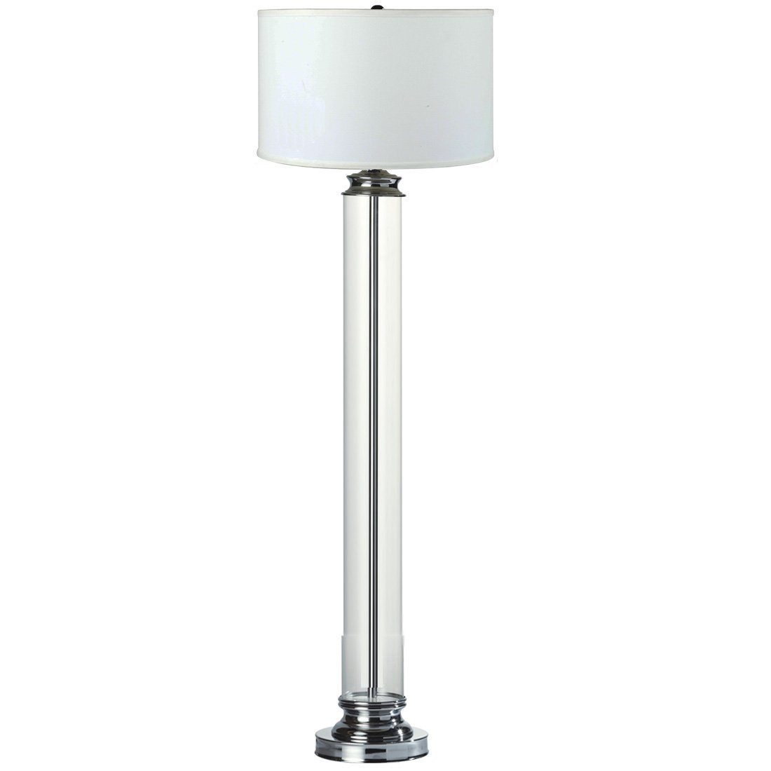 "Major-Q 31183F Classy 63"" Glass Cylinder Body with Chrome Base White Fabric Shade Floor Lamp"
