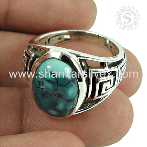 Splendid turquoise gemstone ring 925 sterling silver finger rings handmade
