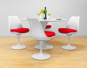"""MD Group Dining Set Elegant Modern Style Round 47"""" Natural Marble Table Red Chair 5Pcs"""