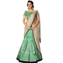 Green Satin Silk A-line Lehenga Choli / Lehenga Choli Shopping / Online Shopping Of Lehenga