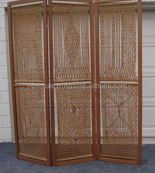 Wooden Carving Folding 3 Panel Room Divider With Macrame Work Buy