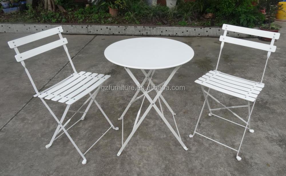 3 Piece Bistro Set Folding Metal Bistro Table Chair Set