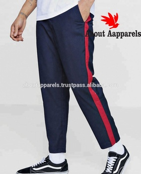 Wholesale cheap price custom chino pants,Navy Blue Stylish Cropped Tapped Detail Trouser AA 1542