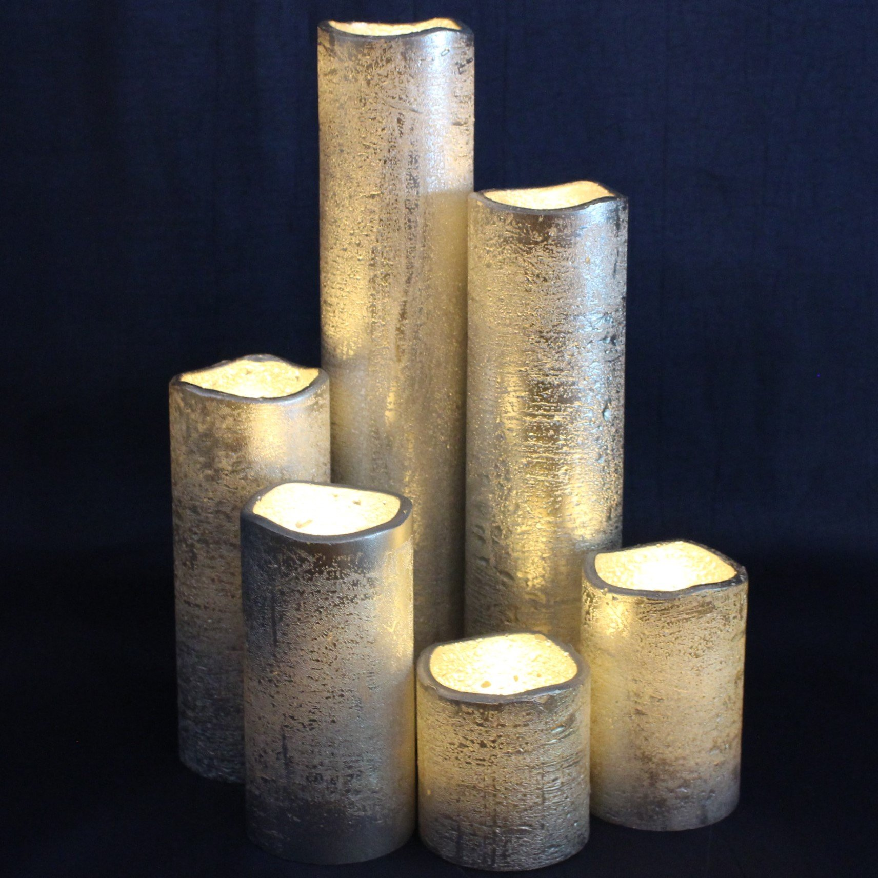 "Silver Flameless Timer LED Candles - Slim Set of 6, 2"" Wide and 2""- 9"" Tall, Rustic Silver Coated Wax and Flickering Warm White Flame by LED Lytes Flameless Candles"