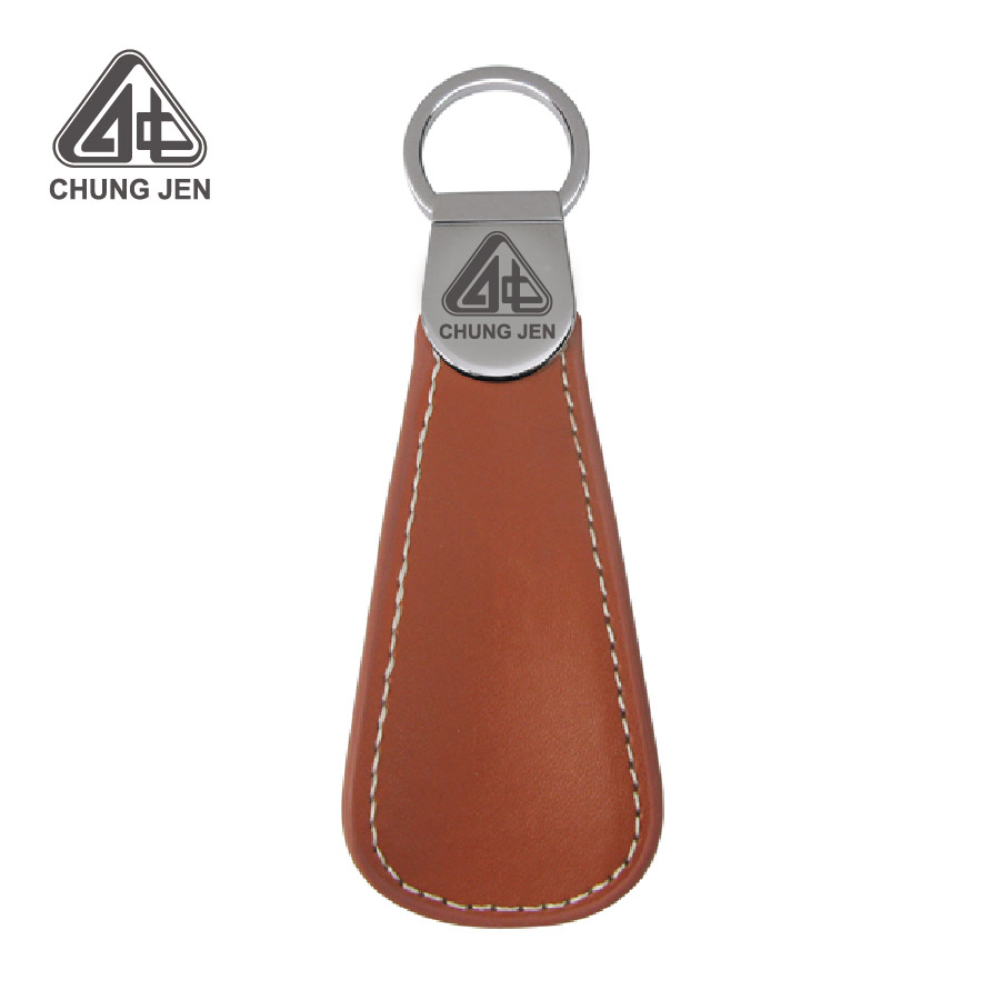 Custom Leather Keychain Shoehorn Shoe Pull Promotional Leather Key Chain