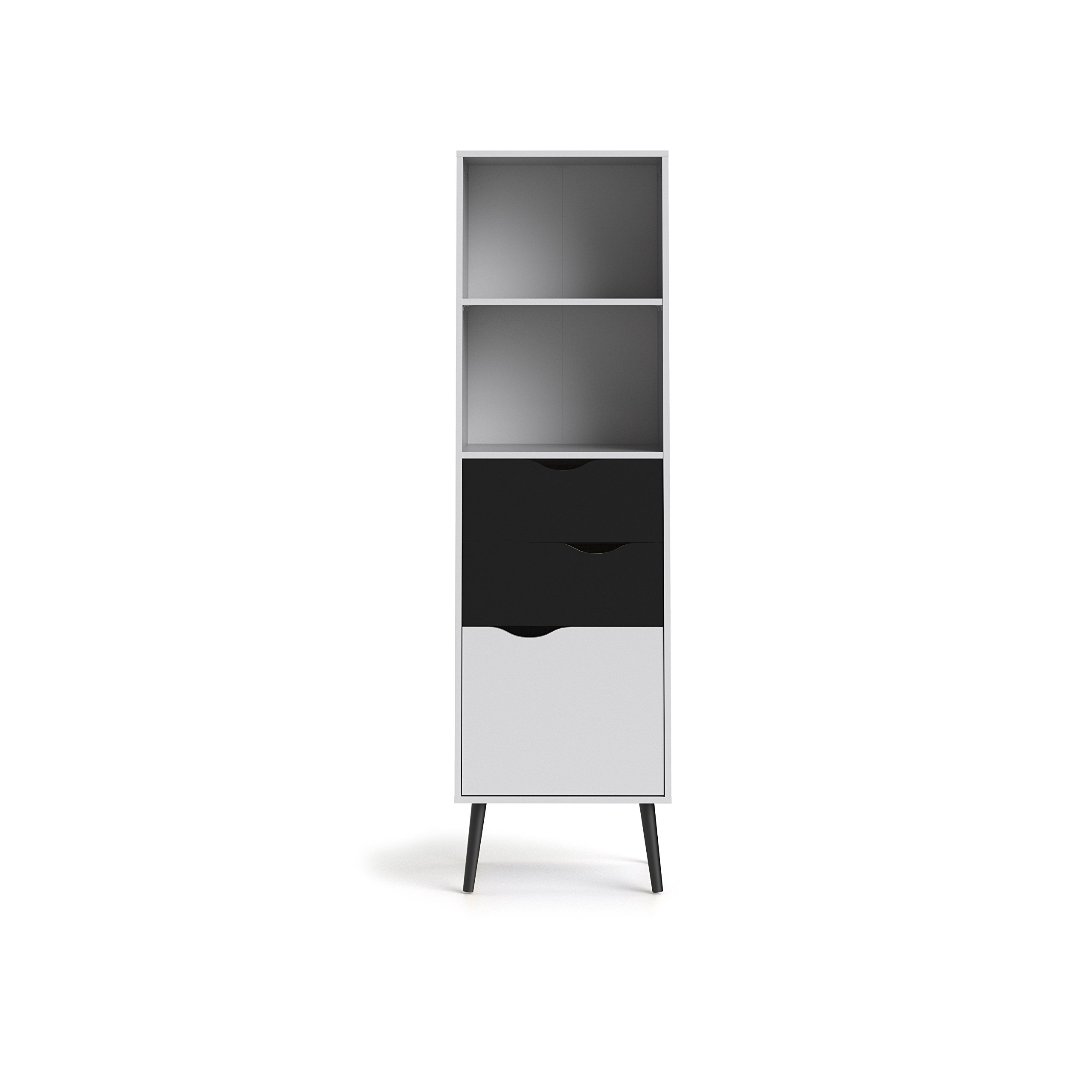 Tvilum 7538249gm Diana Bookcase with 2 Drawer and 1 Door, White/Black Matte