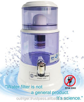 Mineral Water Pot / Portable water purifier Gravity No electricity Eliminating 99.99% bacteria, germs, chlorine