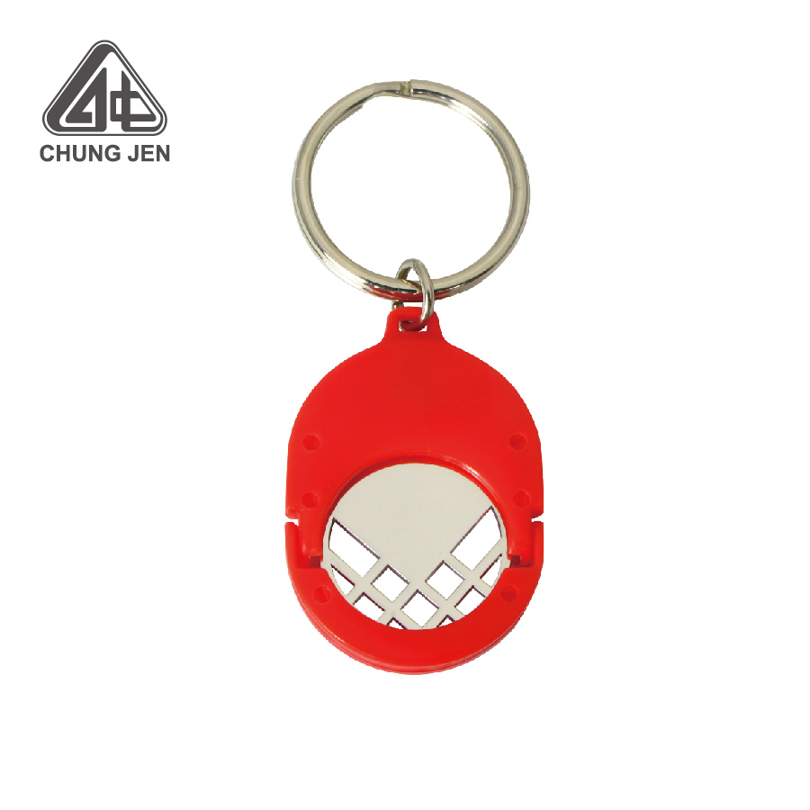 Light Weight Plastic Key Ring with Euro Metal Coin