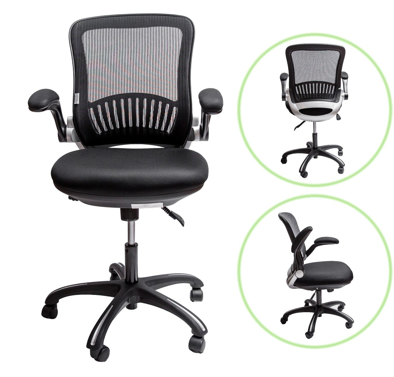 """Sleekform Ergonomic Office Desk Chair   Mid-back Swivel Task Chair with Lumbar Support   Height Adjustable Seat & Arms   Breathable Mesh Back   2-1 Synchro Tilt Control   4.3"""" Soft Memory Foam Cushion"""