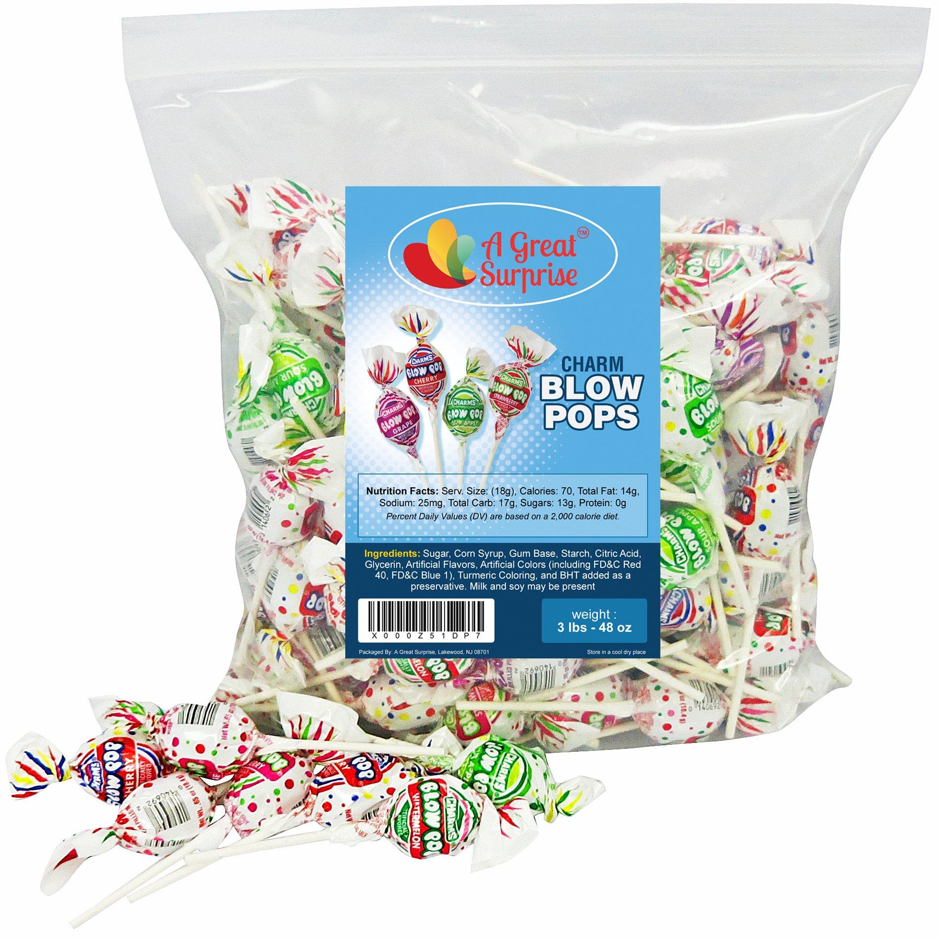 Charms Blow Pops, Assorted Flavors, bubble Gum Filled Pops, 3 LB Bulk Candy