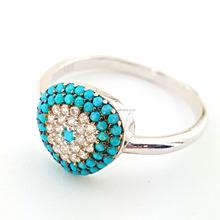5cf33478fea1 Turco joyería de oro rosa plateado plata Nano turquesa piedras CZ mal de  ojo para las