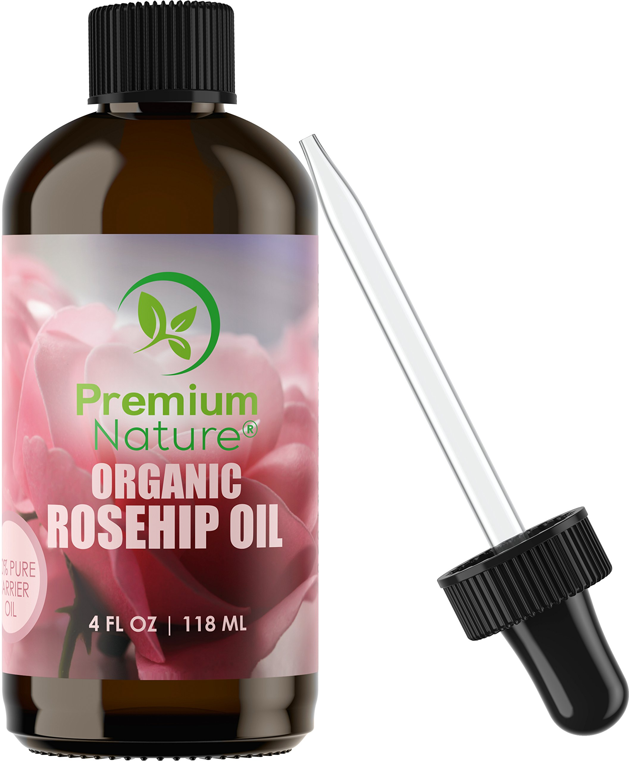 Organic Rosehip Seed Carrier Oil - 4 oz Pure Cold Pressed Unrefined Rose Hip Serum for Face Hair Nails 100% Natural Skin Care Moisturizer Scar Removal & Facial Acne Treatment for Essential Oils