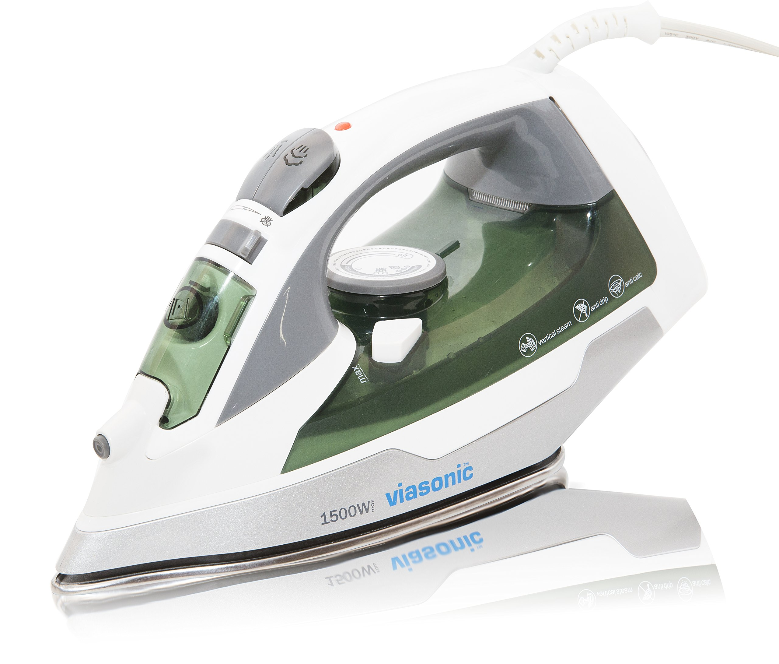 Viasonic Elite Steam Iron 1500W, Anti-Drip & Self-Cleaning, Anti-Calcium, Vertical Steam - Stainless Steel Soleplate - XL 300ML Tank - Steam, Spray, Dry Functions - ETL Listed, by Unity