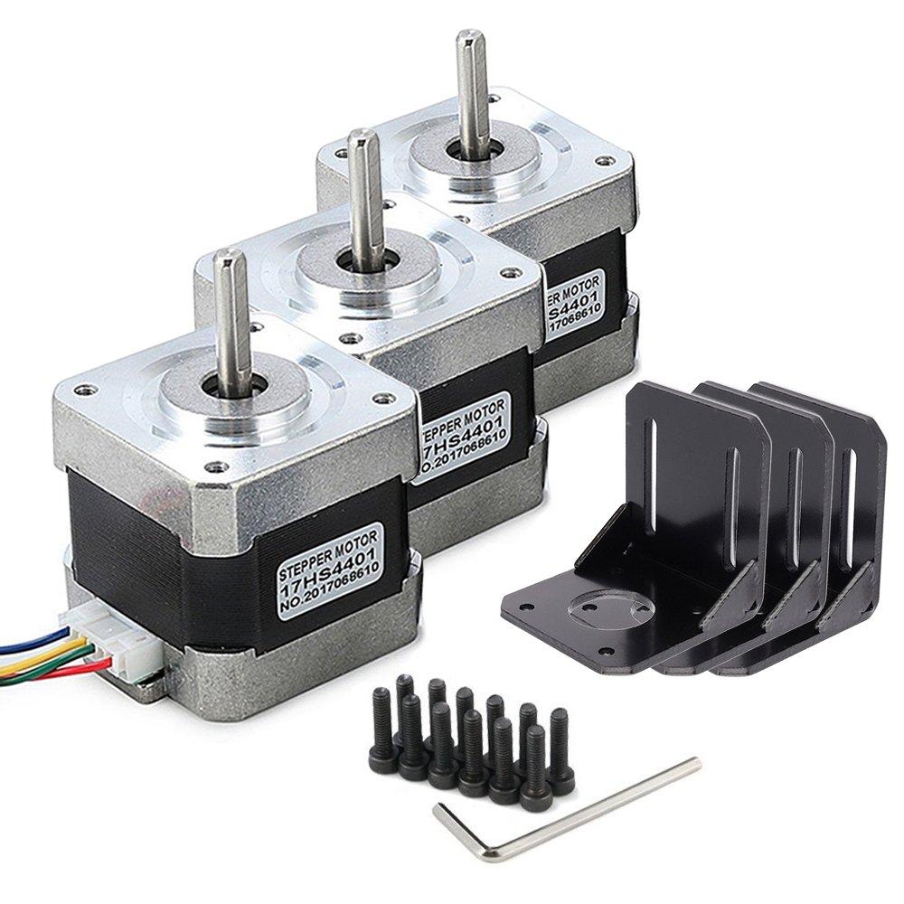 Nema 17 Stepper Motor, MYSWEETY 3 PCS Stepper Motor Bipolar 4-lead 1.8 Deg 40N.cm Holding Torque 1.7A 42 Motor with Motor Mounting Bracket and M3 Screws for 3D Printer/CNC