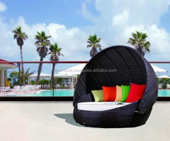design rattan runde outdoor lounge bett mit baldachingarten wicker rattan tagesbetten - Runde Tagesliege Mit Baldachin