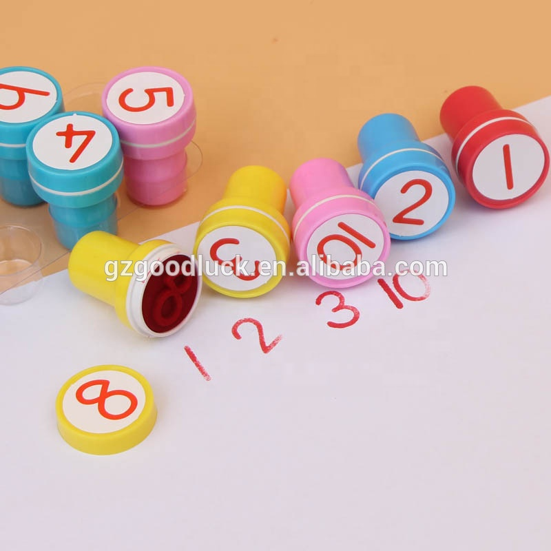 Child toys plastic self-inking stamps custom DIY toy stamp for kid education