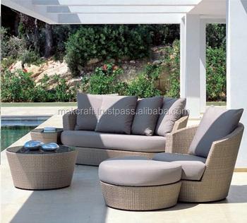 Round Wicker Rattan Outdoor Sofa Set