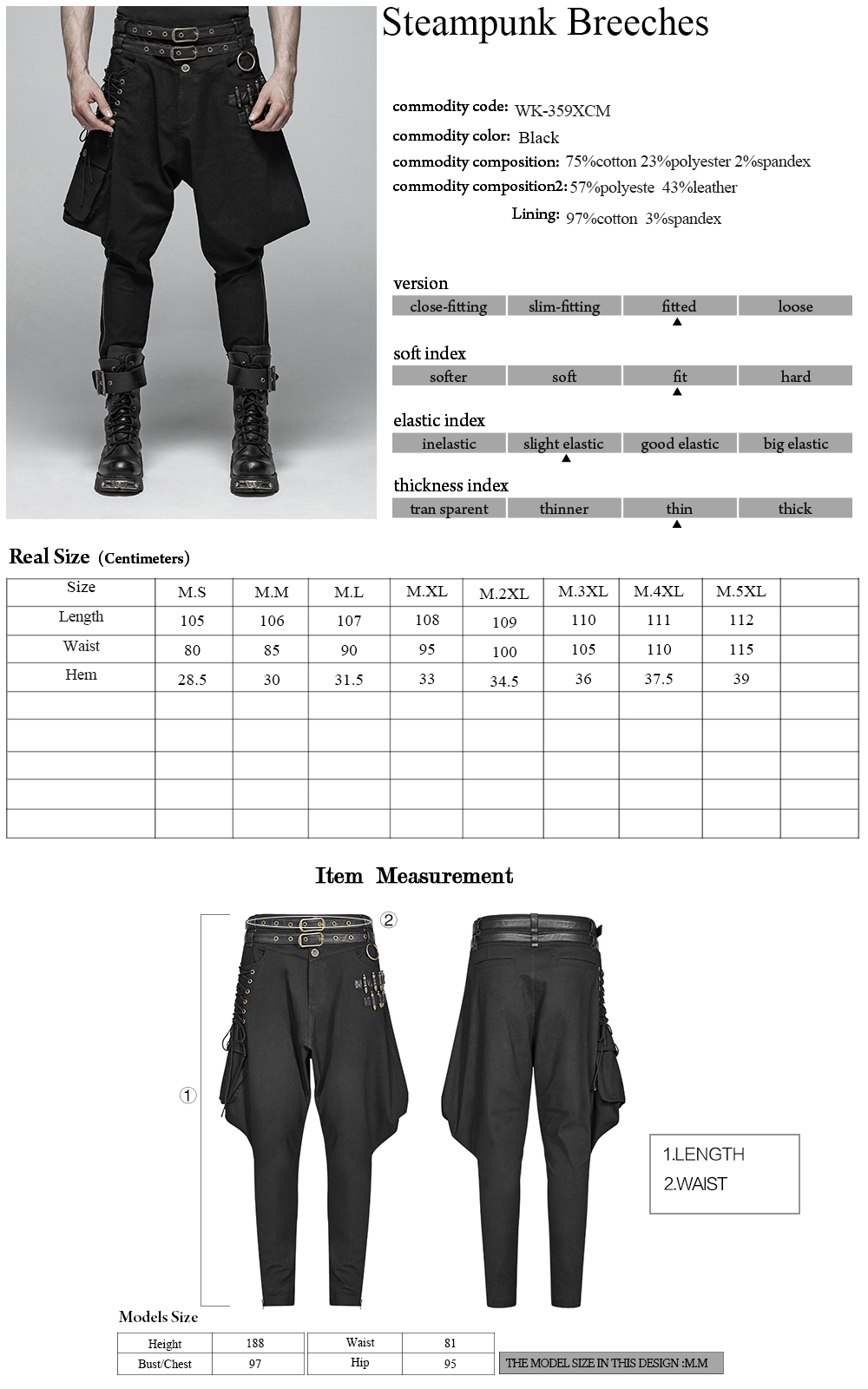 Punk Rave Military Gothic men's trousers with bullet decor WK-359