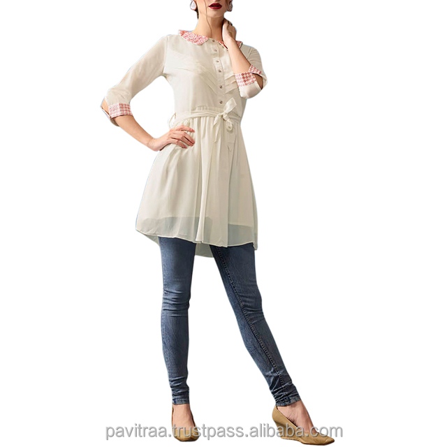 Adorable Off white Georgette Long Top.