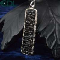 Unique Black Natural Diamond Pendant 925 Silver