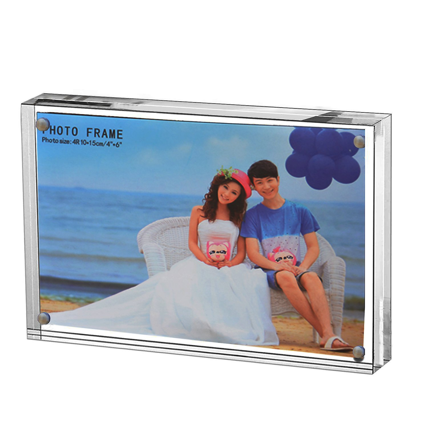 Yakri Clear Acrylic Photo Frame,Magnetic Perspex Picture Holders Table Standing Double Side Displays By (1, 2.5x3.5)